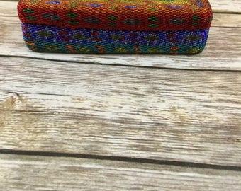 Vintage Seed Bead Trinket Jewelry Box