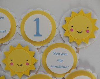 You Are My Sunshine 1st Birthday Cupcake Toppers - Yellow, Blue and White - Child Party Decorations - Set of 12
