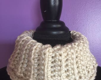 The cara cowl ivory cowl neck warmer ladies cowl womens cowl winter scarf winter cowl crochet cowl