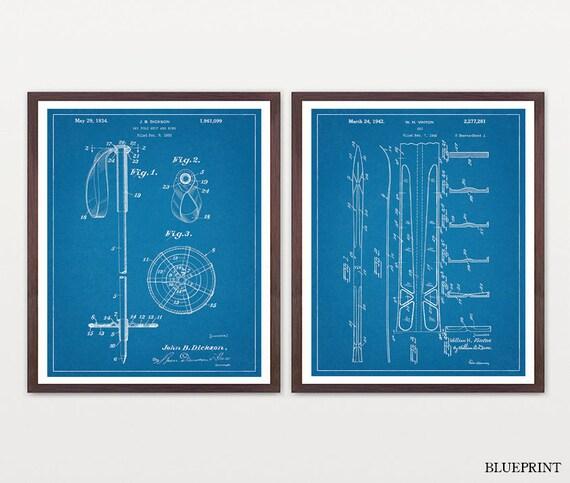 Inventions of Skiing - Ski - Skiing - Skiing Print Set - Skiing Art - Ski Pole - Ski Patent -Ski Patent Print - Ski Art - Skiing Art - Skis