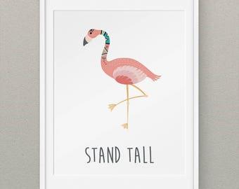 Flamingo Print Art Above Crib Decor, Flamingo Wall Print Art, Tribal Nursery Decor, Girls Nursery Wall Art - Tribal Flamingo Stand Tall