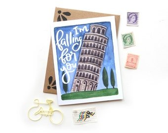 Leaning Tower of Pisa Travel Pun Greeting Card | Handpainted I'm Falling for You Watercolor  Small Greeting Card Kraft Envelope