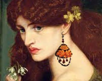 Vintage Tin Golden Lotus Amber Gypsy Drape Earrings