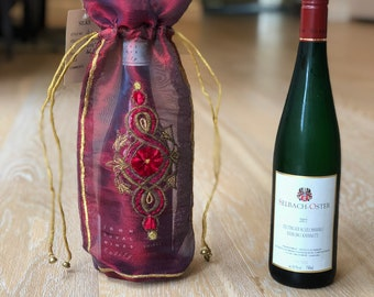 Wine Bottle Cover - Handmade Embroidered Red