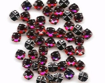 12 4mm Rose Montees: Volcano in Gunmetal or Gold Plated Settings