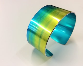 Tropical Lime and Turquoise 30 mm Anodised Aluminium Cuff