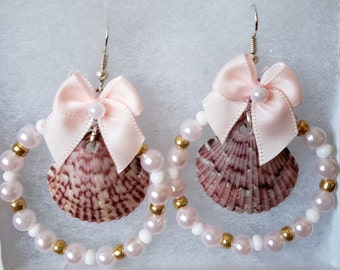 Seashell Chandelier Earrings, Pink and White with Bow and Pearl Beads