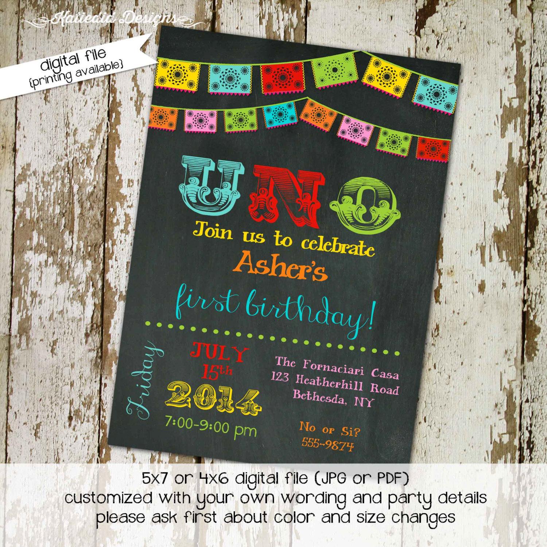 Fiesta Birthday Invitation Papel Picado Uno Day Of The Dead