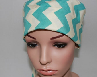 Aqua Chevron, Surgical Scrub Hat, Chemo Style,Hat, OR Scrub Tech,Women's Scrub Hat,Scrub Cap