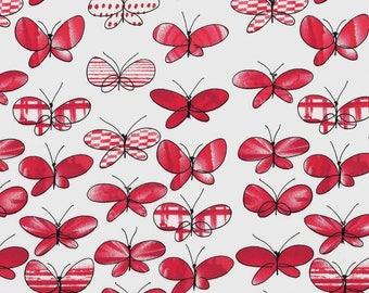 Tissu coton papillons rouges et blancs sur fond blanc