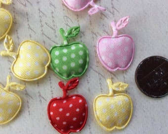 LAST SET of 20 ASSORTMENT Padded Satin Polka Dot Apple Appliques/sewing/embellishments/hair clip/hair bow/scrapbooking/trim