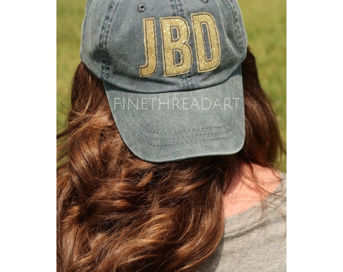 Featured listing image: LADIES Gold Glitter Applique Monogram Initials Mrs. Wedding Baseball Cap Hat LEATHER strap Beach Girls Trip Pigment Dye