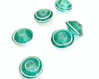 Saucer Emerald 20mm glass bead X 1 pce