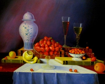Still life with strawberries and cherries