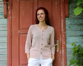 Linen Cardigan with Pattern Knitted Sleeves