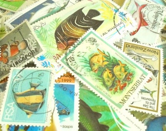 Fish postage stamps | Underwater, sea life thematic stamps | world modern + vintage random mixed used postal stamps | craft upcycle collect