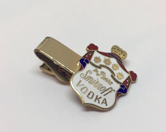 Smirnoff Vodka Vintage Enameled Gold Tone Tie Clip