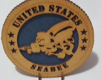 Seabee – On Stand Desk Plaque Wooden Model