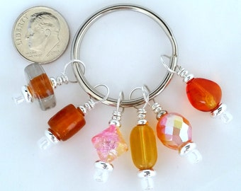 Stitch Marker Glass Bead Stitch Markers Orange Stitch Markers Shawls cowls scarves sweaters mittens knitting