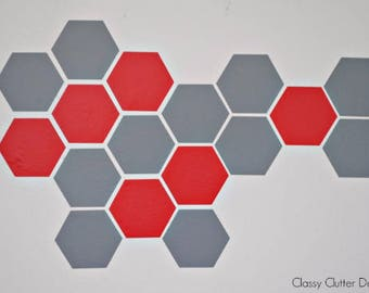 Hexagon Honeycomb Vinyl Wall Decals (24 per sheet)