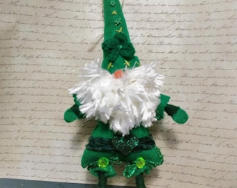 Handmade Felted Green Gnome St Patricks Day Gnome with Hat and Crochet Shamrock