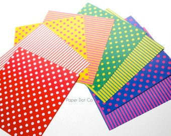 Colorful Origami pack, printed stripes origami sheets, 80 sheets polka dot origami paper, colourful variety patterns, paper craft supplies
