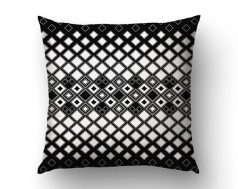 Black And White Pillow, Home Decoration, Modernist Decor, Square Pattern