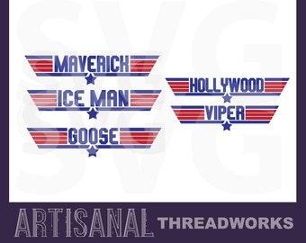 Top Gun Font SVG Cutting Files Maverick, Ice Man, Goose, Hollywood, and Viper SVG
