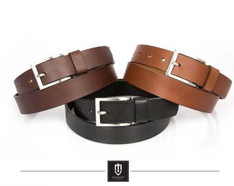 High quality handmade leather belt, 30mm wide available in light brown, dark brown and black
