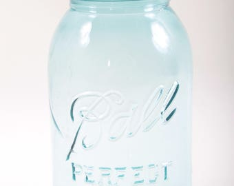 Vintage Mason Jar, Aqua Blue Glass, Ball, Perfect Mason, Zinc Lid, Kitchen, Canning, Storage, Container, Antique ~ The Pink Room ~ 170204