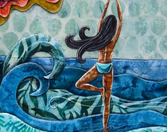Yoga pose, beach decor, ocean art, Her happy place, gift for her, namaste, shellieartist, Original artwork, mixed media art