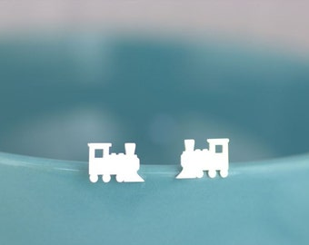 Small Toy Train Stud Earrings - Toy Studs, Child gift, I love trains, nostalgic jewelry, child earrings
