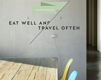 Eat Well Travel Often Removable Wall Sticker