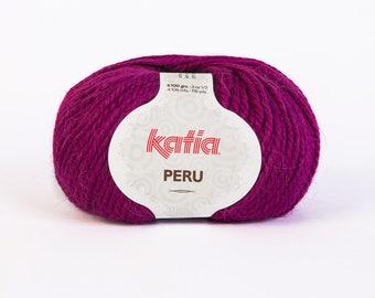big yarn Katia - PERU - collar fuchsia 023 No. 40% wool, 20% Alpaca 40% acrylic