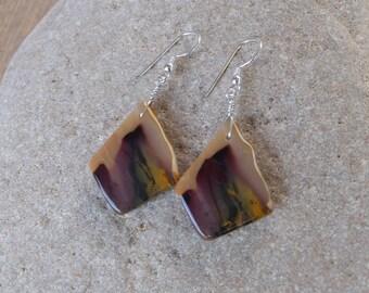 Mookaite earrings - natural stone jewelry - gem stone earrings handmade in Australia - unique large stone earrings - aubergine
