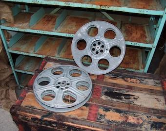 "Vintage Movie Film Reel,15"",no film,movie theater decor,wall room decor,recycled art,metal film reel,photo prop,home theater decor,goldberg"