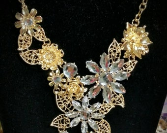 After Life Accessories Gold and Rhinestone bib necklace
