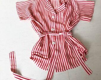 1940s Striped Blouse