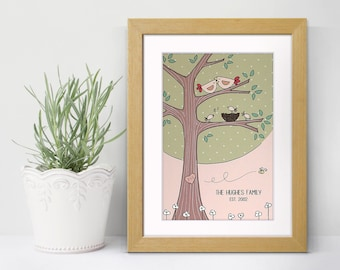 Family Tree Personalised Art Print - Anniversary Gift - Housewarming Gift - Lovebirds Print
