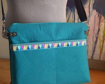 Crossbody Linen Teal Messenger Bag