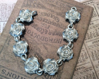 """NEW!  PEWTER rose chain 6"""" pc"""