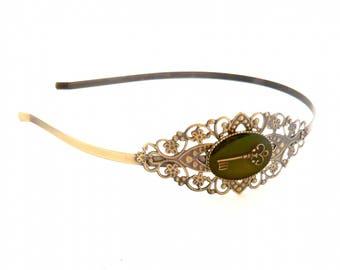 Adult size headband headband green vintage key steampunk bronze