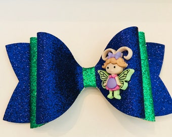 X-Large Cute Fairy Royal Purple and Green Fine Glitter Fabric Hair Bow on an alligator clip Babies, Girls, Toddlers, Women