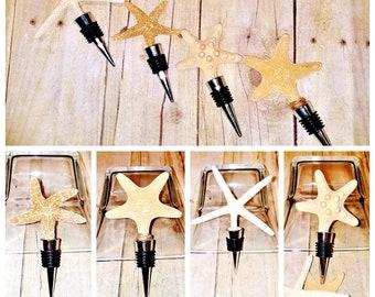Starfish WINE STOPPER Coastal Beach Seashell Bottle Topper Wedding Hostess Gift Favor Specialty Olive Oil or Vinegar Cork