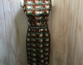 Vintage - fitted dress - 60s - a tiled - time dress - handmade - size 6