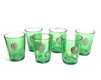 Northwood Glass Tumblers, Victorian, Hand Painted, 6 Tumblers, Tulip Blooms, 1900, Green Glass