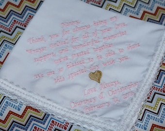 Grandma wedding gift, Nanny wedding hanky, embroidered wedding handkerchief with lace and pearls, mother of the groom wedding hanky