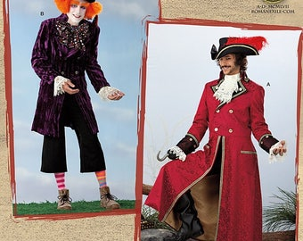 Simplicity Pattern 2333 Alice in Wonderland Mad Hatter Costume-Captain Hook Costume-Xsmall to Medium Out of Print-Last One