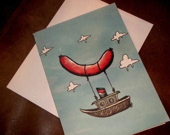 Fantastic Flying Meat Ship Blank Inside 5x7 Greeting Card by Agorables Rulers of the Undead