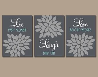 Live Laugh Love Wall Art, Flower Canvas or Prints, Gray Bathroom Decor, Bedroom Quote Pictures, Flower Burst, Set of 3, Floral Decor
